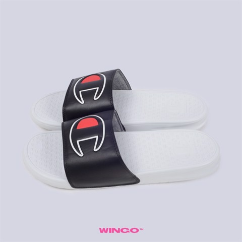 Champion Solid C Super Slides (Black White)
