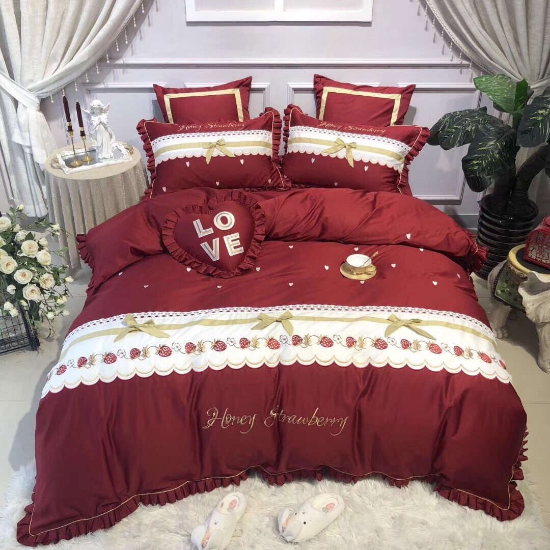 SET CHĂN GA GỐI HONEY STRAWBERRY 7M