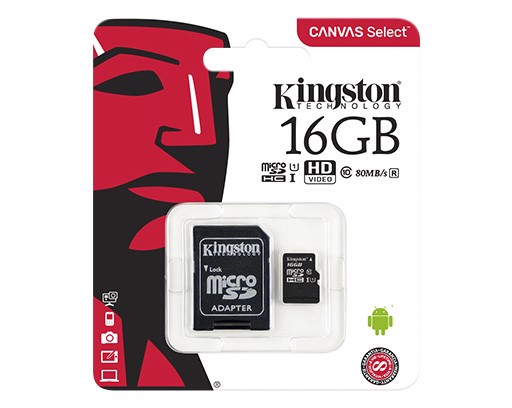Thẻ Nhớ Kingston Micro 16Gb uSD Select 80R C10