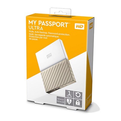 Ổ cứng WD My Passport Ultra 1TB WDBTLG0010BGD White Gold