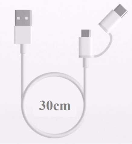 Cáp XiaoMi 2-In-1 Usb Cable Micro Usb To Type C (30cm) SJV4083TY