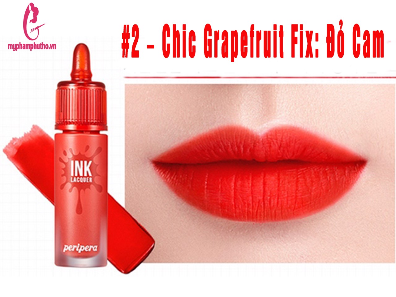 Son kem lì Peripera Ink Lacquer Lip Tint #2 – Chic Grapefruit Fix: Cam Chói Chang