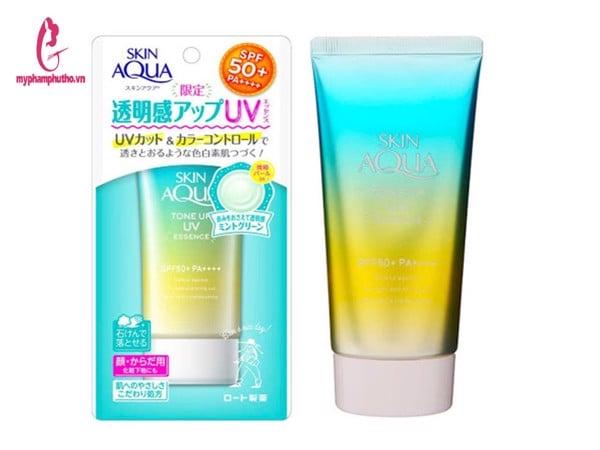 kem chống nắng Skin aqua màu xanh mint cho da dầu