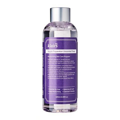 Nước cân bằng Klairs Supple Preparation Unscented Toner 180ml