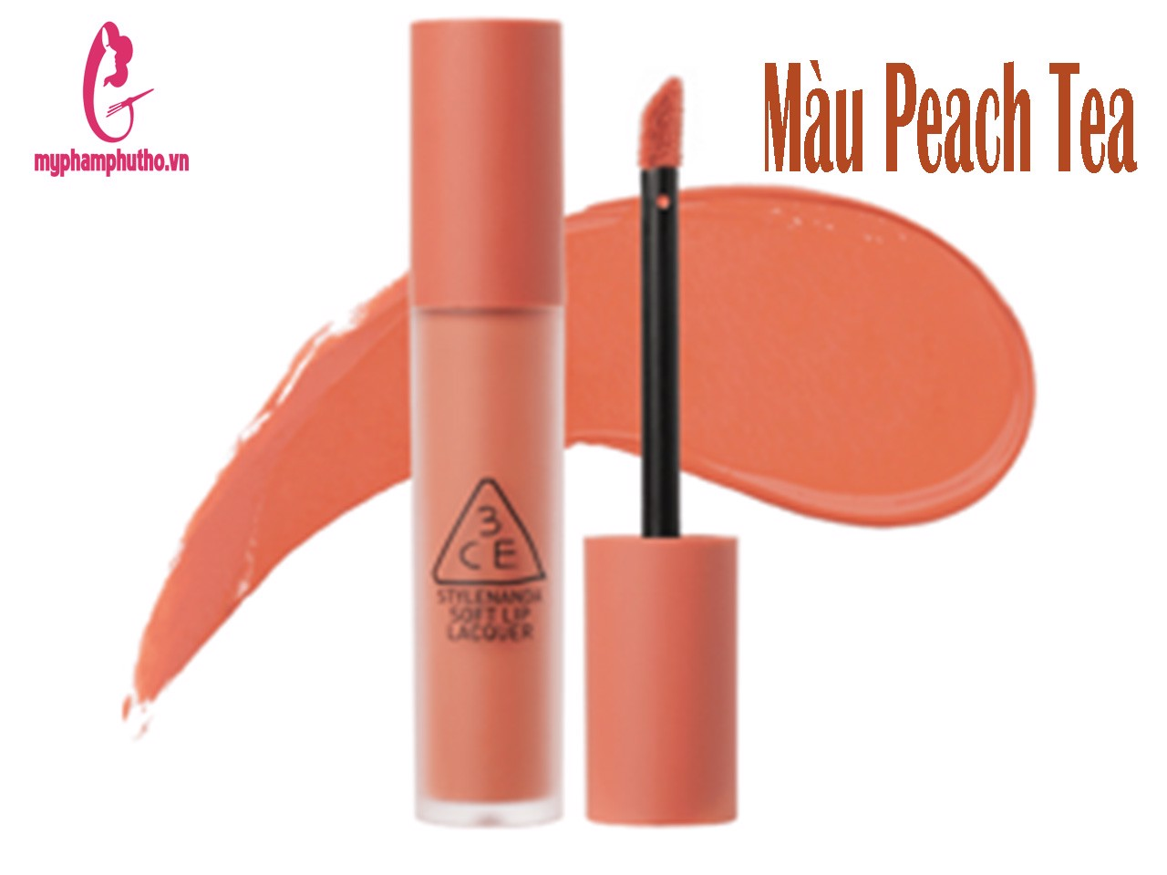 Son 3CE Kem Soft Lip Lacquer Màu Peach Tea