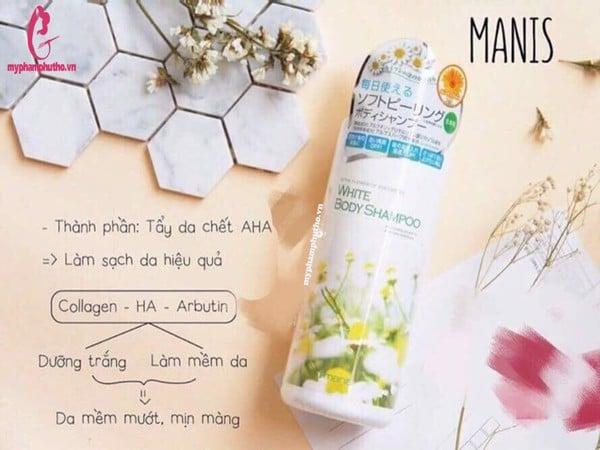 Review Sữa tắm trắng da toàn thân Manis White Body Nhật Bản
