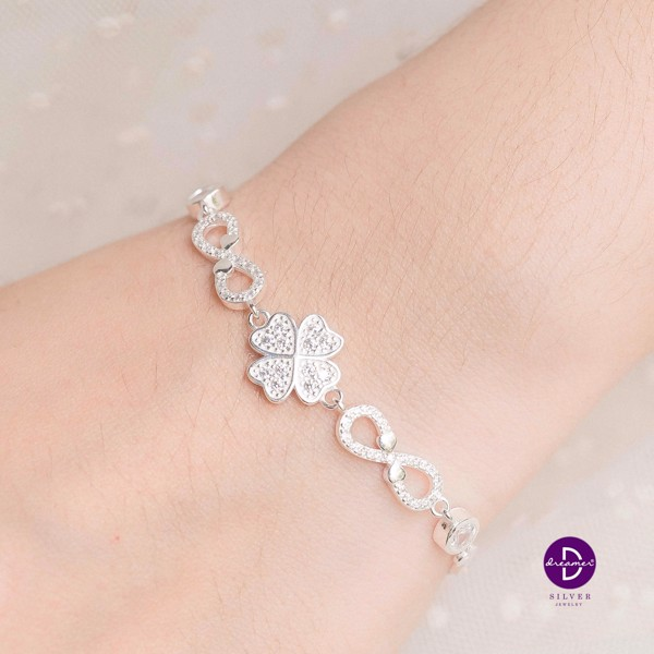 Vòng tay Premium Big Lucky Flower & Heart Infinity Chain