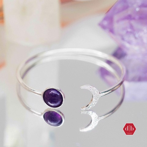 Kiềng Crescent Moon & Sunny Gem Stone (Thạch Anh Tím)
