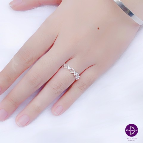 Nhẫn Dot Stone & Heart Line Bang
