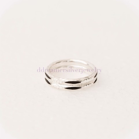 Nhẫn Hairy Elephant Ring (MM) 5 Black Line Double
