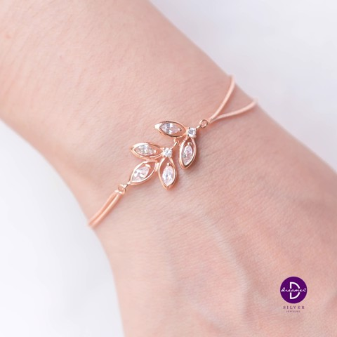 Vòng Tay Middle Olive Leaf Double Lines (Silver/Rose Gold)