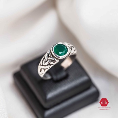 Nhẫn đá Emerald - Oxidize Strong Braid Round Gem