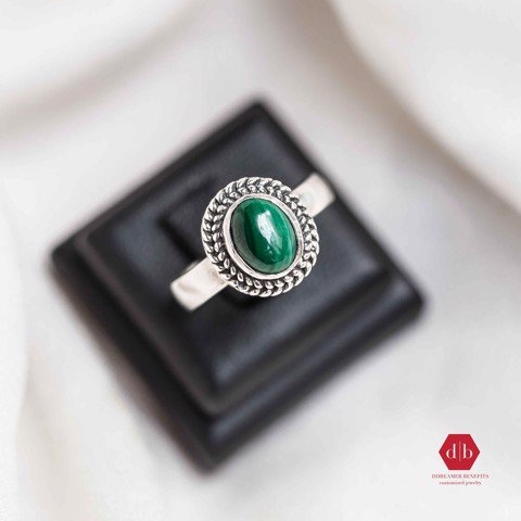 Nhẫn đá Emerald - Big Mystery Braid Stone