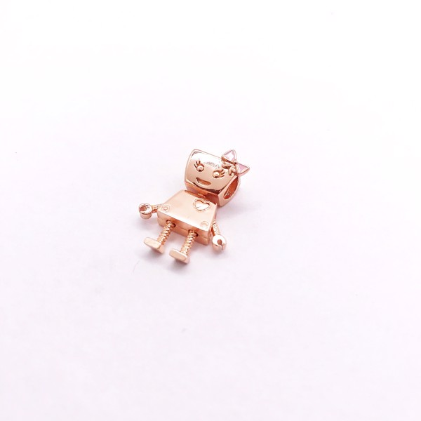 Charm Rose Gold Pink Bow Robot