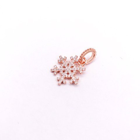 Charm Rose Gold Dark Snowflake