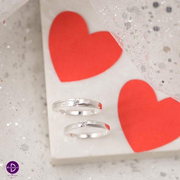 Nhẫn cặp HEART SIDE MINI STONE (COUPLE)