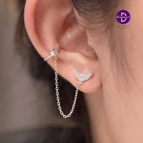Hoa tai Long Chain Star Earcuff - Moon