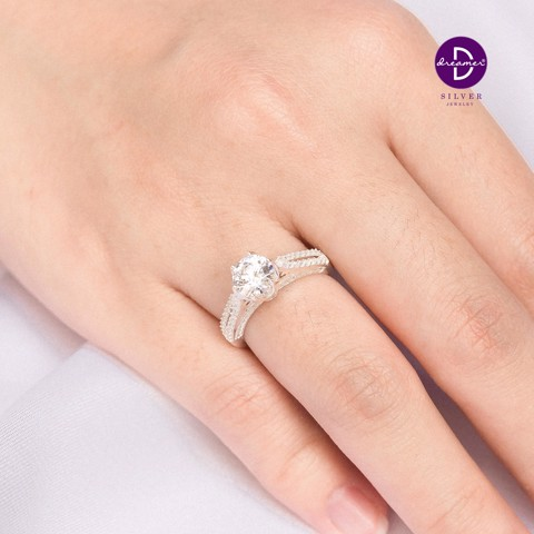Nhẫn Premium Diamond Stone Flower Double Line