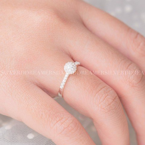 Nhẫn Sparkling Ball Line Stone Ring