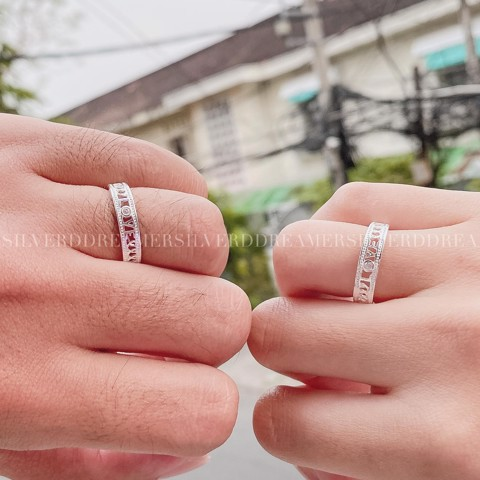 Nhẫn Cặp Love Stone Heart Curve Band