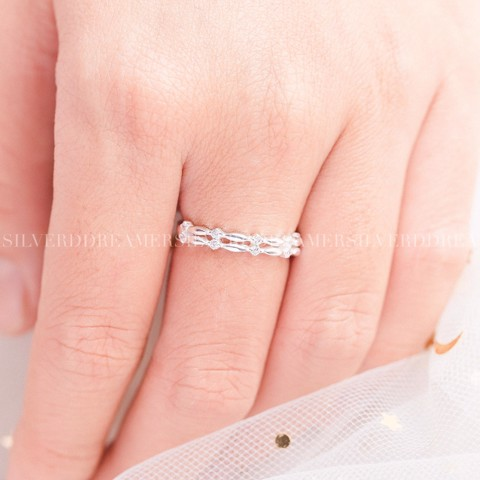 Nhẫn Double Braid Stone Ring