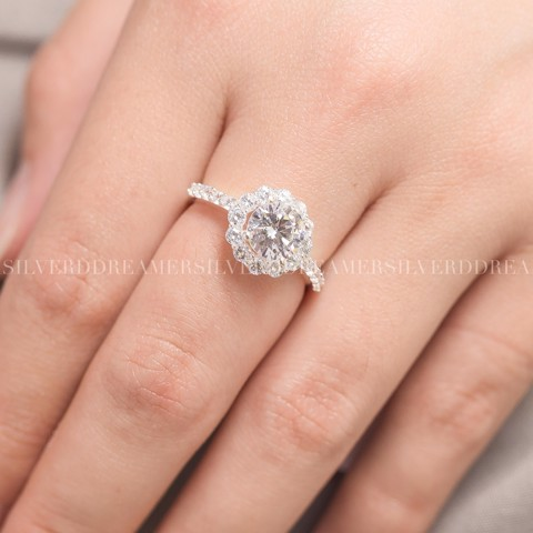 Nhẫn Premium Big Flower Diamond 1 Stone Line (Nhỏ)