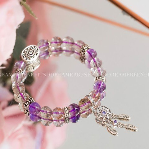 Vòng Tay Đá Super 7 Phối Charm Purple Dream Catcher & Rose Band