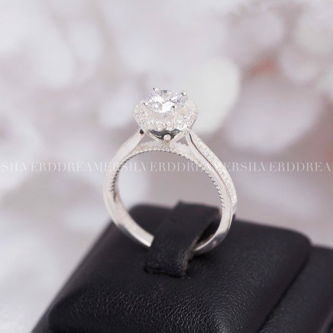 Nhẫn Premium Chop Button Diamond Lace Stone Line