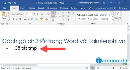 Cách gõ chữ tắt trong Word