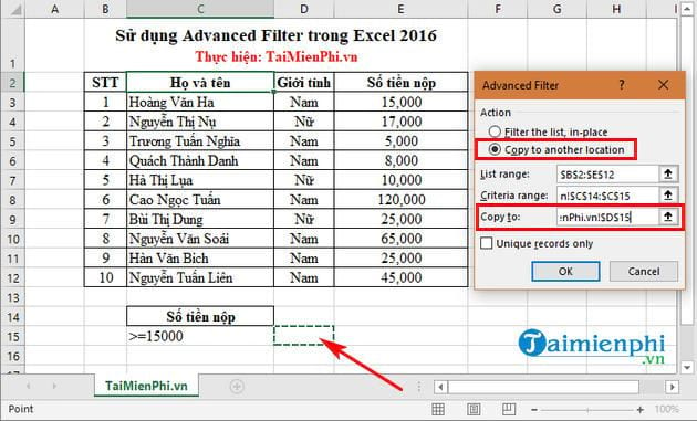 Sử dụng Advanced Filter trong Excel 2016