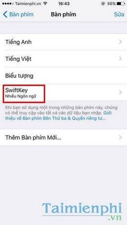 Sử dụng bàn phím SwiftKey Keyboard trên iPhone