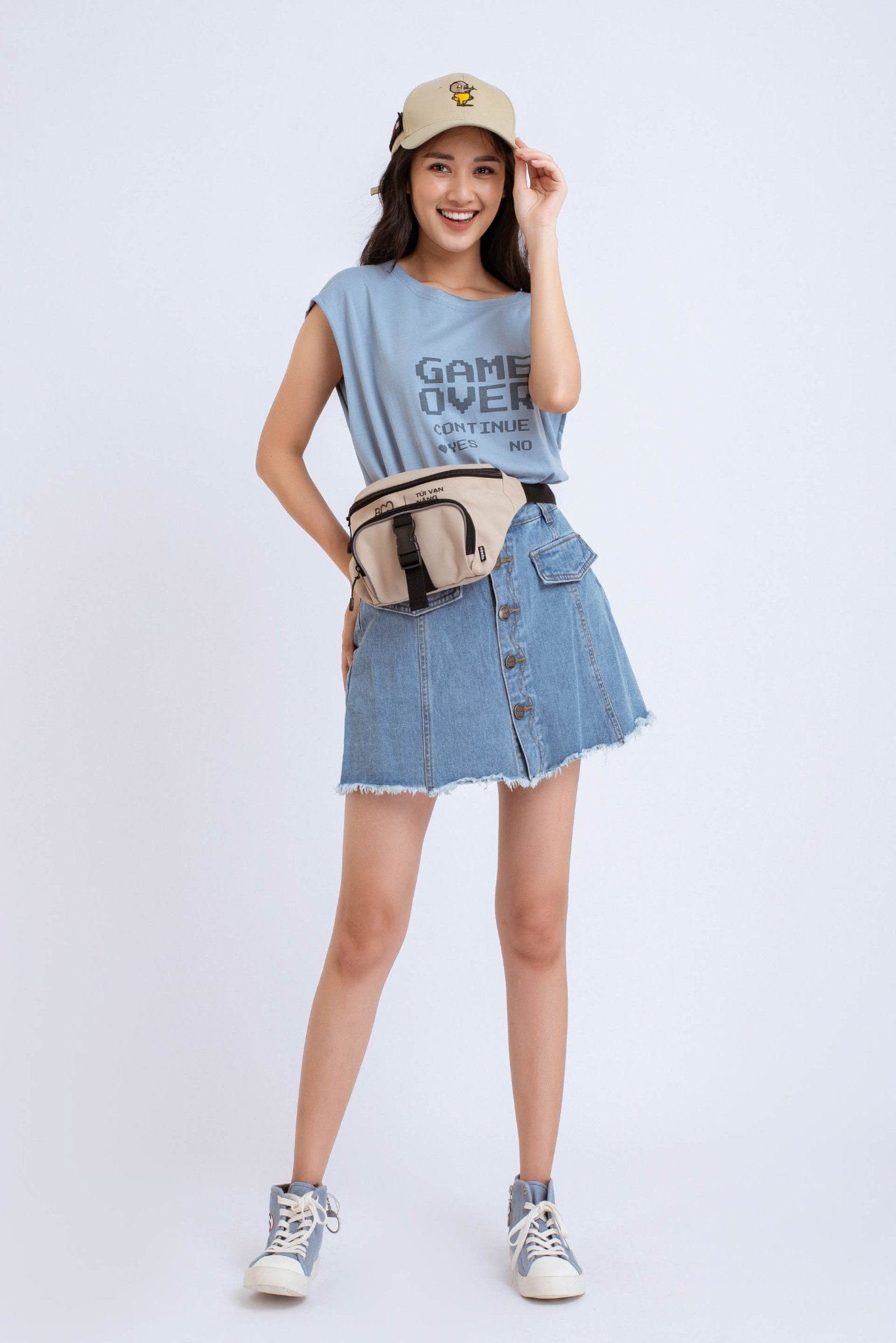 ÁO BA LỖ NỮ FIT COTTON 100% OVERSIZED GAME OVER