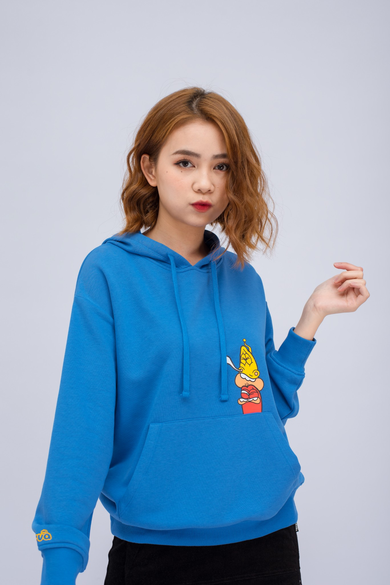 ÁO HOODIE NỮ REGULAR RED-YELLOW