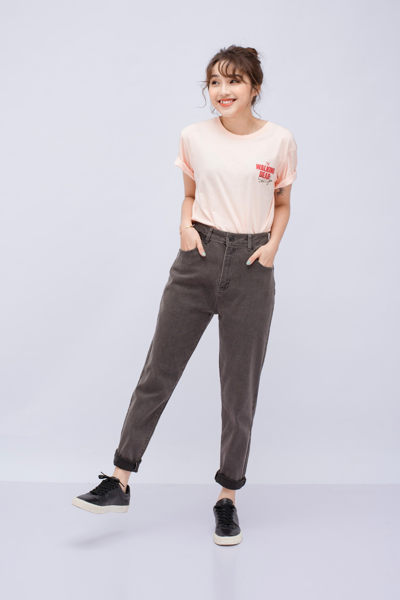 JEANS NỮ BASIC MOM JEAN BS09