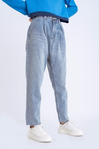 QUẦN JEANS NỮ BAGGY XẾP LY