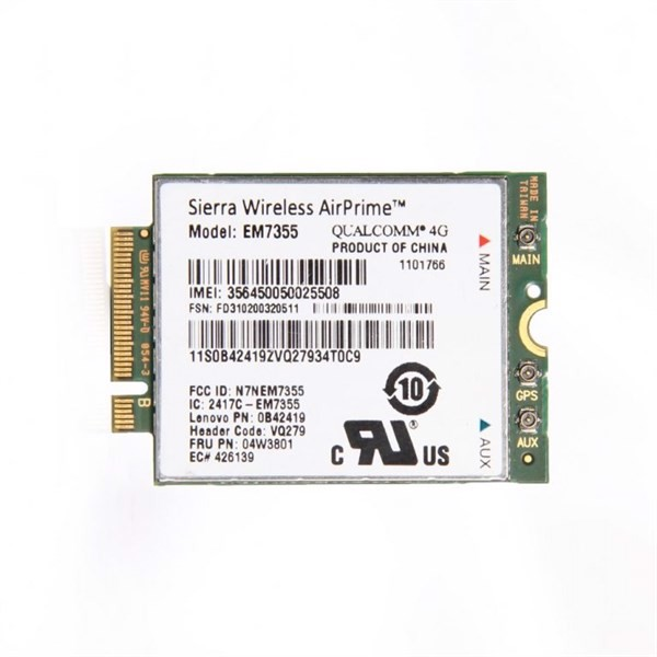 Card WWan Lenovo Sierra Wireless ThinkPad EM7355 4G LTE Mobile Broadband
