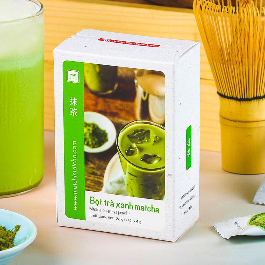 Bột trà xanh matcha túi 4g, 7 túi, hộp, Matchi Matcha