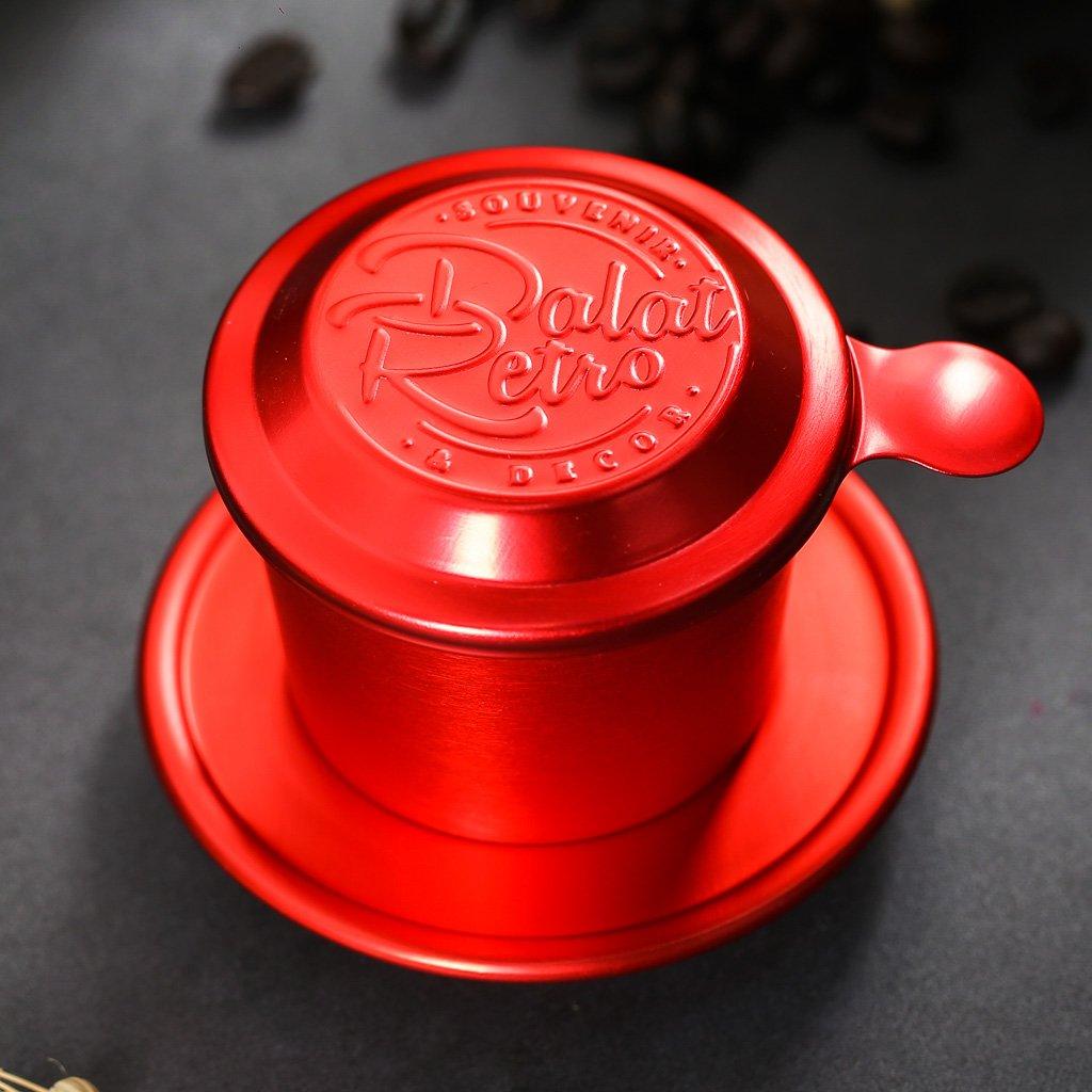 Phin cà phê, bộ, mẫu nhôm anode bắn cát, màu retro red, Dalat Retro