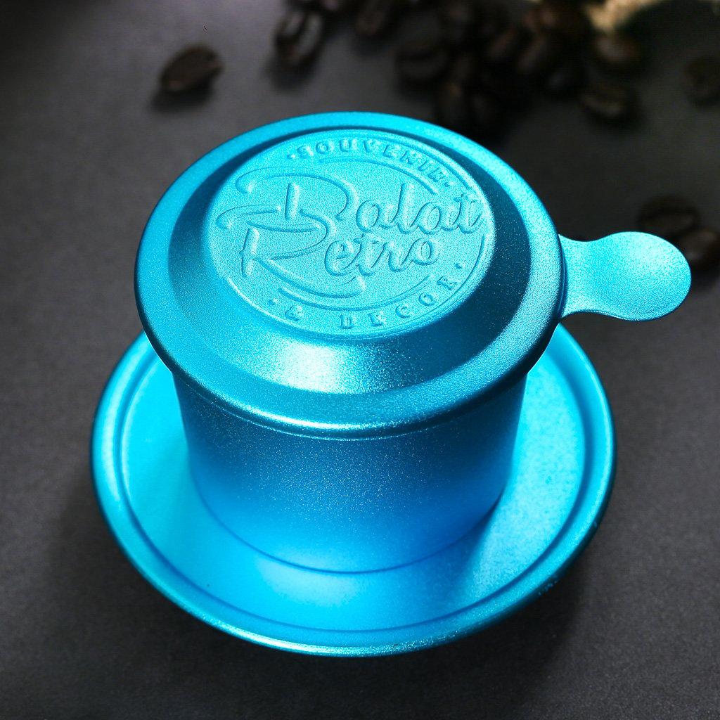 Phin cà phê, bộ, mẫu nhôm anode bắn cát, màu retro blue, Dalat Retro