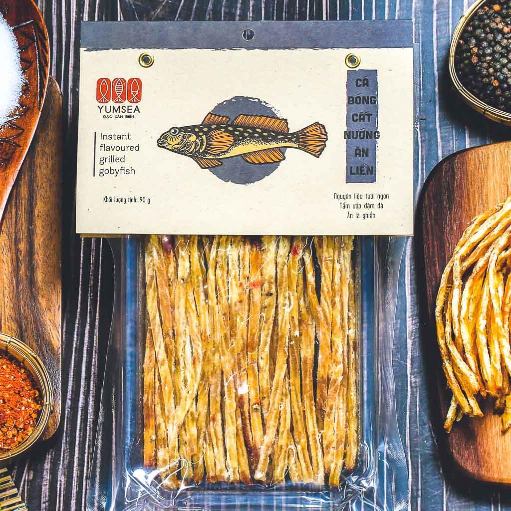 Cá bóng cắt nướng ăn liền, 90g, bịch, mẫu hút chân không L