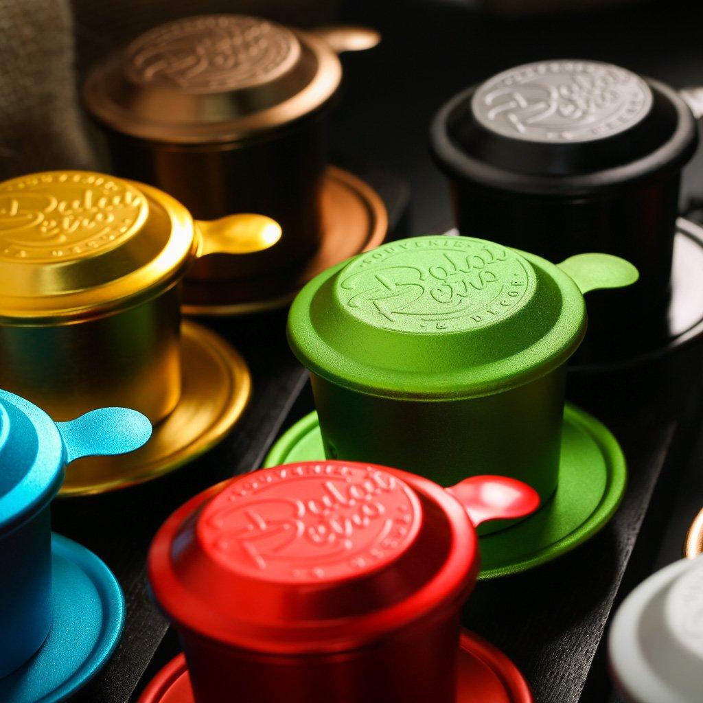 Phin cà phê, bộ, mẫu nhôm anode bắn cát, màu retro green, Dalat Retro