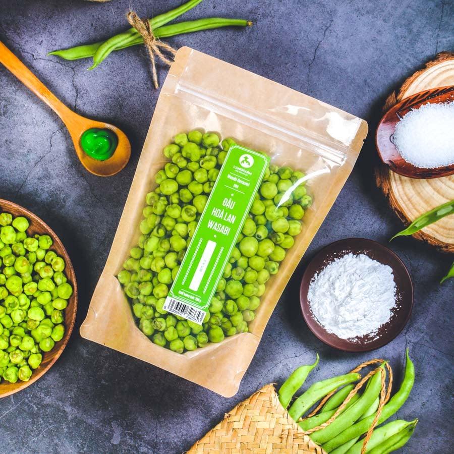 Đậu hoà lan wasabi, 200g, bịch, mẫu kraft 1 mặt trong