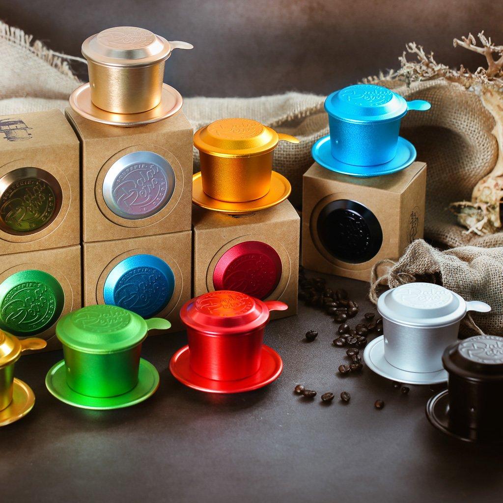 Phin cà phê, bộ, mẫu nhôm anode xước, màu amber gold, Dalat Retro
