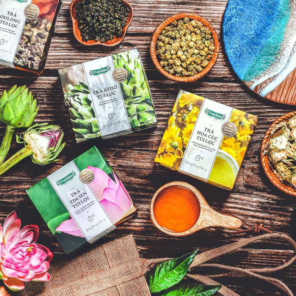 Trà cỏ ngọt túi lọc, 60 tép, hộp, mẫu pastel art, Thái Bảo