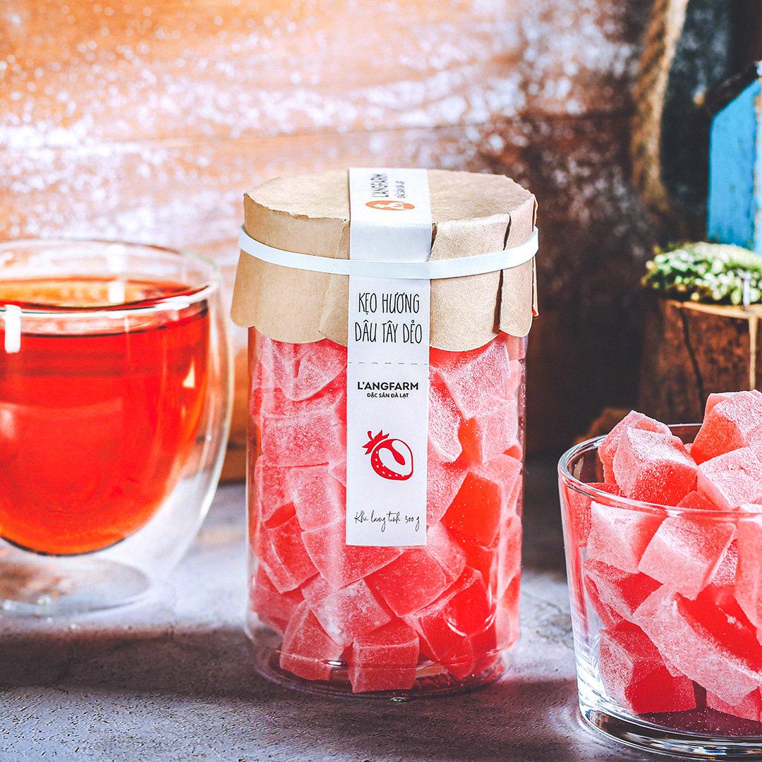 Kẹo hương dâu tây dẻo, 300g, hũ, mẫu tobita