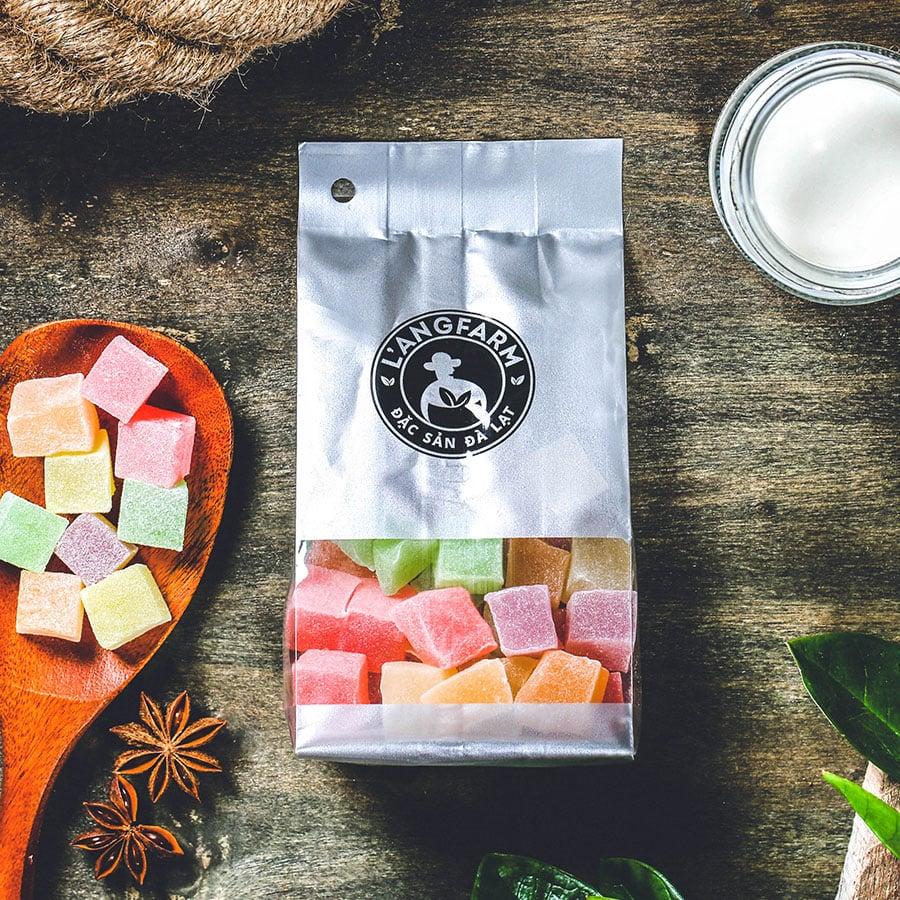 Kẹo hương thập cẩm dẻo, 180g, bịch, mẫu bịch bạc