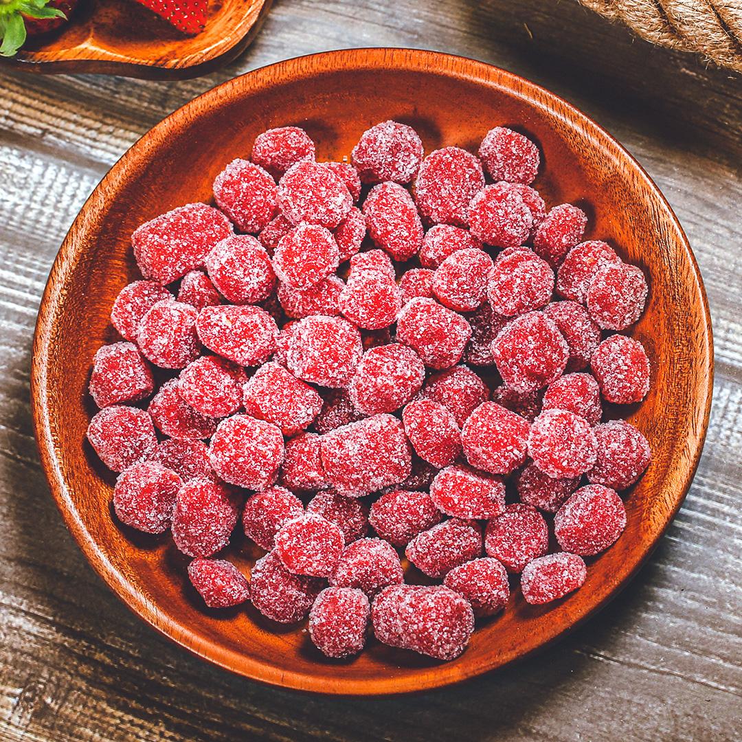 Kẹo hương dâu tây, 350g, bịch, mẫu kraft 1 mặt trong