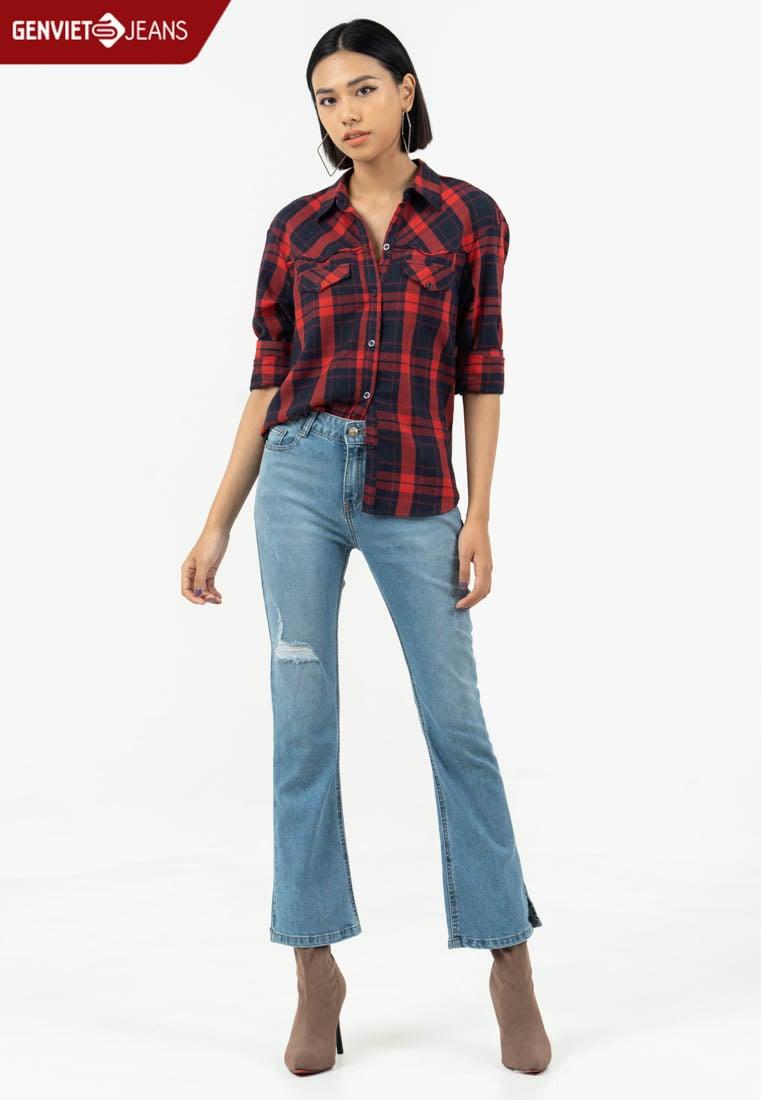 XQ110J771 - Quần Dài Jeans Ống Vẩy Phối Xước Rách