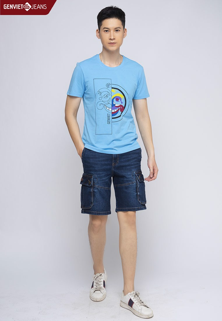 X1303J348 - Quần Ngố Jeans In Laser M.A.P