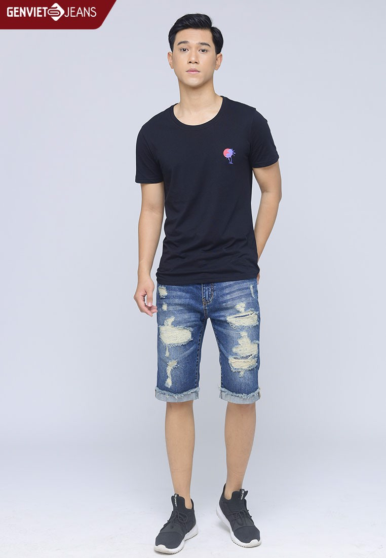 G100P.00422 - Đầm Denim Trễ Vai In Laser